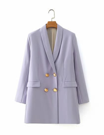 Fashion Purple Double-breasted Suit Jacket With Clamshell