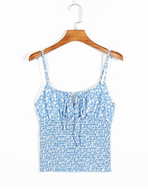 Fashion Blue Pleated Vest With Printed Lace Suspenders