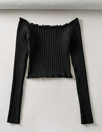 Fashion Black One-neck Knitted Top