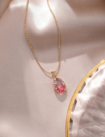 Fashion Oval Pink Color Crystal Fan-shaped Necklace