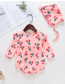 Fashion Sleeve Pink Baby Printed Fruit Pattern Jumpsuit