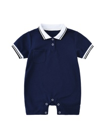 Fashion Navy Blue Baby Polo Collar Short Sleeve Shorts Climbing Suit