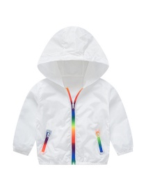 Fashion White Children's Rainbow Hooded Sun Protective Clothing