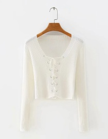 Fashion White Breathable Lace Up Long Sleeve Sweater