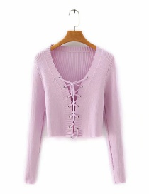 Fashion Pink Breathable Lace Up Long Sleeve Sweater