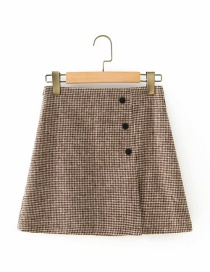 Fashion Check Wool Plaid Button Skirt