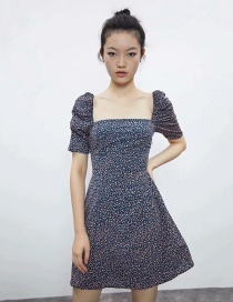 Fashion Navy Blue Square Collar Floral Puff Sleeve Dress