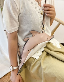 Fashion Pink Small Dolphin Stitching Contrast Shoulder Bag
