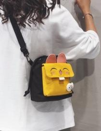 Fashion Black Cat Contrast Canvas Diagonal Shoulder Bag