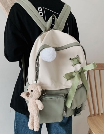 Fashion Green Send Bear Fur Ball Pendant Bow Stitching Contrast Color Backpack