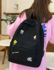 Fashion Black Embroidered Floral Animal Canvas Backpack