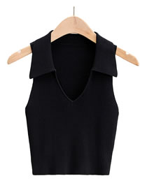 Fashion Black Lapel Knitted Vest