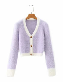 Fashion Purple White Edge Contrast Color Long Sleeve Cardigan Sweater