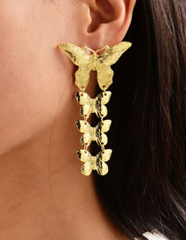 Fashion Golden Gold-plated Multi-layer Butterfly Alloy Earrings