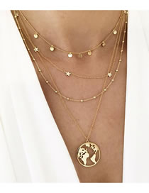 Fashion Golden Round Five-pointed Star Multi-layer Alloy Necklace
