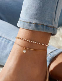 Fashion Golden Double-layer Anklet With Diamond Snake Bone