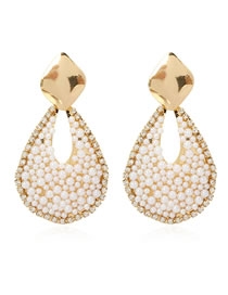 Fashion Golden Droplet Handmade Pearl And Diamond Alloy Earrings
