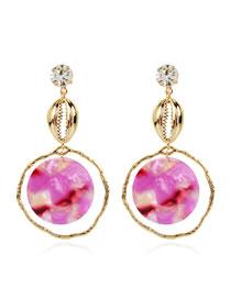Fashion Purple Acrylic Round Shell Alloy Earrings