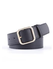 Fashion Black 5 Belt With Rhinestone And Pearl Buckle