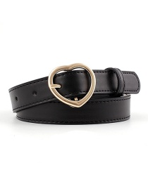 Fashion Black-gold Buckle Heart-shaped Heart Buckle Belt