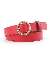Fashion Red-gold Buckle Pu Buckle Belt With Round Buckle