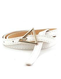 Fashion White Triangle Buckle Thin Belt