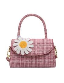 Fashion Pink Lattice Stone Pattern Daisy Flap Shoulder Crossbody Bag