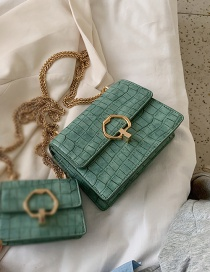 Fashion Large Green Chain Shoulder Bag With Stone Pattern Lock
