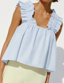 Fashion Blue Ruffled Pleated Elastic Top