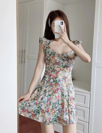 Fashion Color Mixing Floral Print Ruffled Frilled Skirt Dress