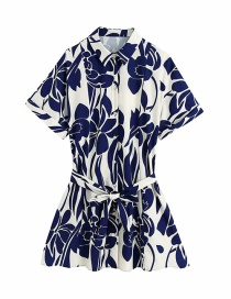 Fashion Printing Printed Shirt-style Belted Bow Dress