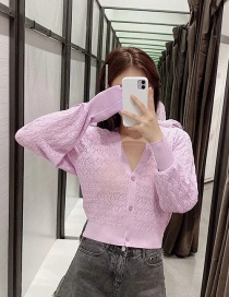 Fashion Purple Single-breasted Knitted Jacket With Jacquard Mesh