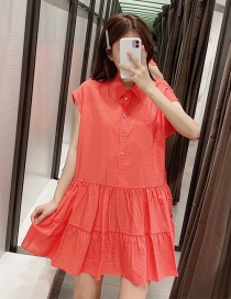 Fashion Red Faux Jewelry Button Dress