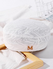 Fashion Milk White Lace Alphabet Embroidery Thin Breathable Beret