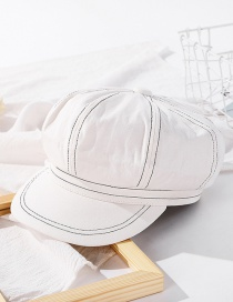 Fashion Milk White Solid Color Stitching Octagonal Cap