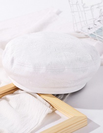 Fashion Milk White Pleated Solid Color Stitching Beret