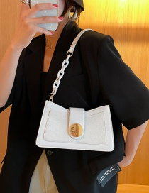 Fashion White Acrylic Chain Shoulder Bag With Stitching Lock