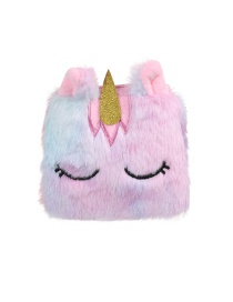 Fashion Pink Square Unicorn Plush Children's Wallet