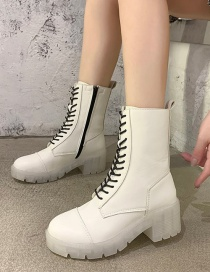 Fashion White Transparent Bottom Tether Strap Martin Boots High To Help 17cm With A Height Of 6cm