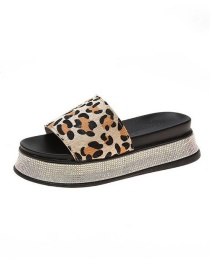 Fashion Leopard Print Leopard-print Thick-bottomed Muffin With Sandals And Slippers