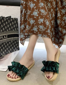 Fashion Green Ruffled Word Wear Flat Sandals And Slippers