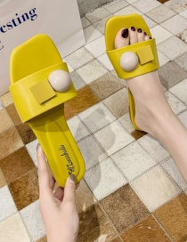 Fashion Yellow Bead Square Slippers With Flat Slippers On The Outside
