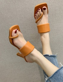 Fashion Orange Slip-toe Square High-heeled Sandals