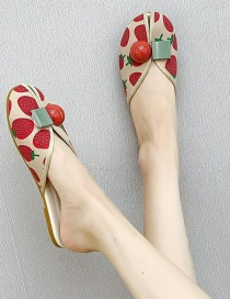 Fashion Strawberry Baotou Strawberry Cherry Pineapple Printed Bead Flat Half Slippers