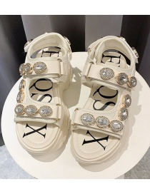 Fashion Beige Rhinestone Velcro Wedge Muffin Heel Sandals