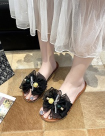 Fashion Black Bowknot Rhinestone Flat Bottom Slippers