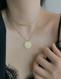Fashion Golden Stainless Steel Round Brand Copper Tube Double Necklace