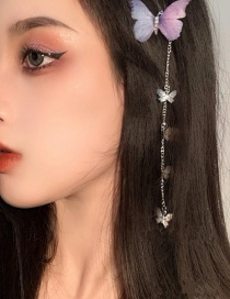 Fashion A Pair Of Butterflies Three-dimensional Lace Butterfly Chain Alloy Hairpin