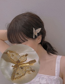 Fashion Golden Crystal Butterfly Hairpin Full Of Diamonds
