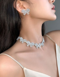 Fashion Necklace Three-dimensional Diamond-set Earrings With Diamonds And Gold Necklace